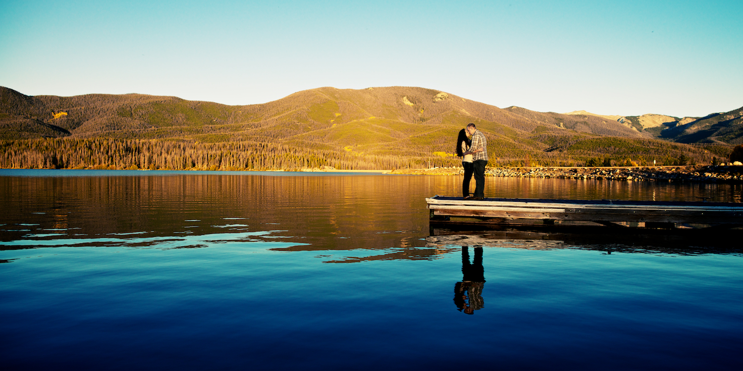 Grand Lake Colorado Sunset Outdoorsy Reflection Engagement Session by Denver Wedding Photographers Joe and Robin
