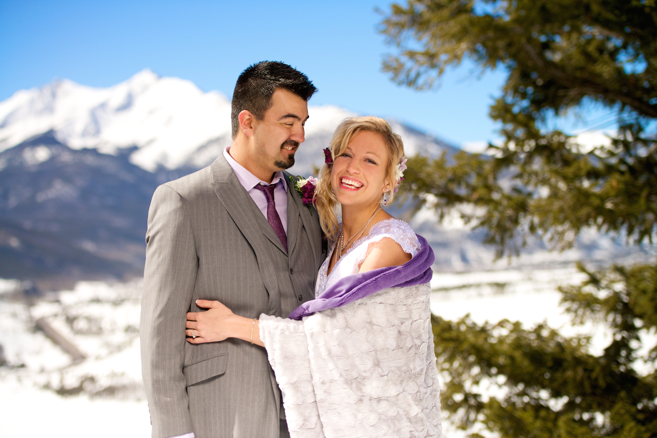 Sapphire Point Overlook Wedding Dillon Colorado Bride and Groom In Snowy Mountain in Winter